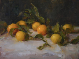 """Lemons and Leaves"", oil on linen by Stephanie Birdsall"