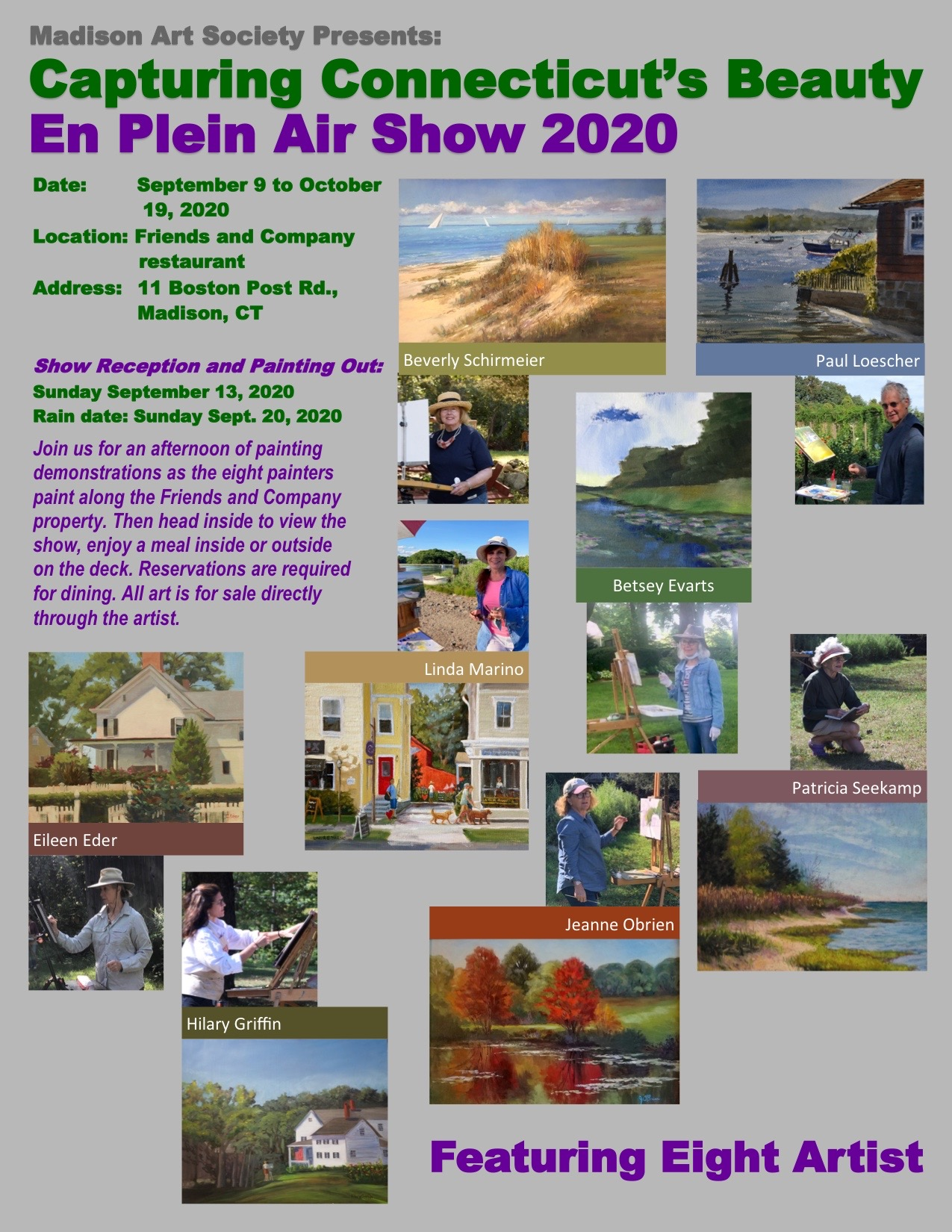 MAS presents Capturing Connecticut's Beauty En Plein Air Show 2020 - Sept 9th through Oct 19th at Friends and Company