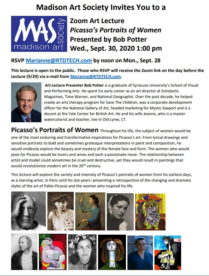 MAS Lecture - Picasso's Portraits of Women Presented by Bob Potter - Live on Zoom - 9/30/20 @ 1PM - RSVP!